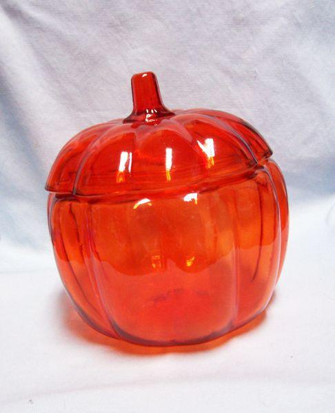 CANDY DISH Decorative Anchor Hocking Glass Orange Pumpkin Candy Dish & Lid