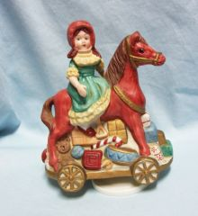 MUSIC BOX; Girl on Horse with Toys Wind up Revolving Music Box - School Days