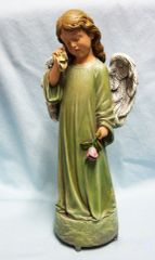 MUSIC BOX Angel Wiping Tear from Eye Memorial to a Lost Pet - AMAZING GRACE