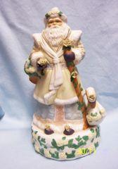 """MUSIC BOX Vintage Father Christmas with Swan Music Box Christmas Decor 11 1/4"""" H"""