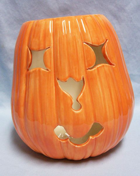 "Halloween Unique Orange Jack-O-Lantern 2001 Handcrafted Ceramic Pumpkin 7.5"" H"