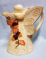 "Pitcher: Unique Angel Fall Decor 8 1/2"" Pitcher 2003 Pale Yellow with Acorns"