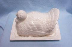 Butter Dish/Butter Container: Thanksgiving Turkey Ceramic Butter Dish Farm House Collection by 10 Strawberry Street