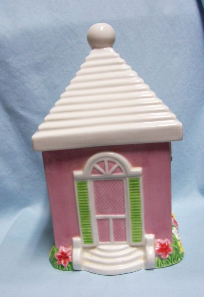 "Cookie Jar: Cute 11"" Tall Pink Town House Cookie Jar with Seal Type Lid - A.S. Cooper"