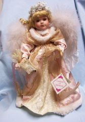 DOLL: Collectible Porcelain Pink/Gold Angel Doll Feather Wings Collectors Choice