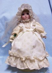 "COLLECTIBLE DOLL: Frontier 13"" Bride Doll 'Sarah' with metal stand by Danbury Mint"