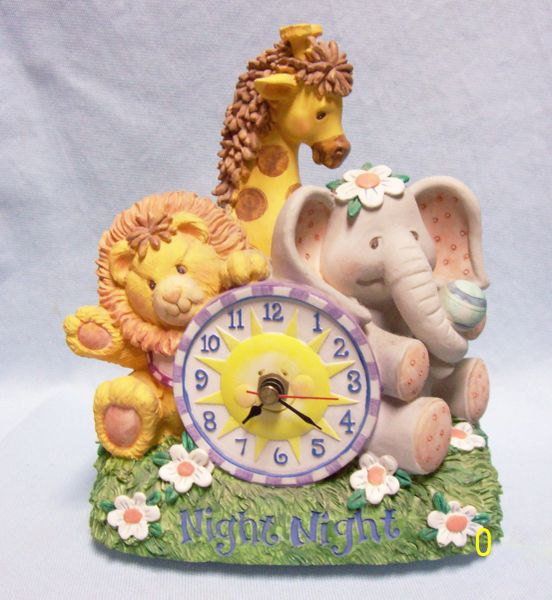 "MUSIC BOX: San Francisco Childrens 8"" Wind Up Music Box with Battery Clock - Song Brahms Lullaby"