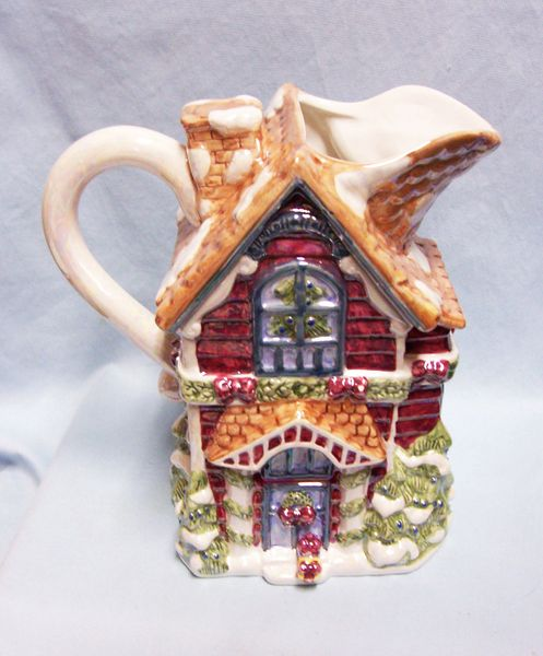 "PITCHER: Christmas House 9"" Victorian Christmas Pitcher Pearl Glaze Handpainted Ceramic Cardinal, Inc."