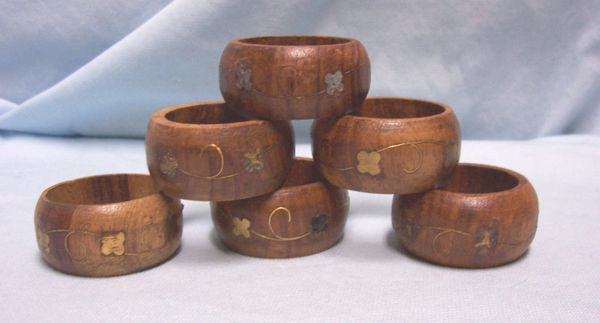 NAPKIN HOLDERS: Vintage Set of (6) Wooden Napkin Rings, Handcrafted India Gold Design