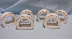 NAPKIN HOLDERS: Vintage (6) White Porcelain Gold Trim Flat Bottom Napkin Rings