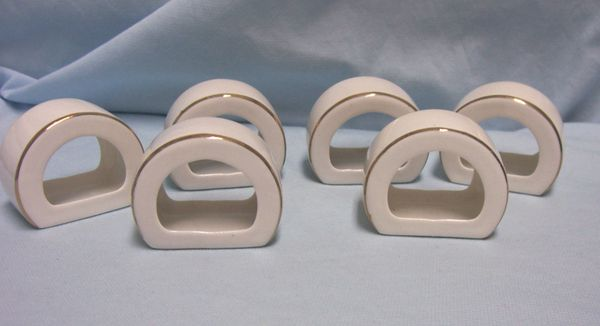 NAPKIN HOLDERS: Vintage (6) White Porcelain Gold Trim Flat Bottom Napkin Rings