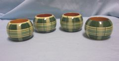 NAPKIN HOLDERS: Vintage (4) Green & Yellow Plaid Round Napkin Rings from India