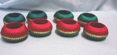 NAPKIN HOLDERS: Vintage Christmas Napkin Holders/Rings in Red, Green, Gold Yarn
