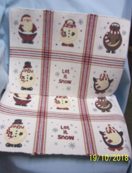 "PLACEMATS: (8) Holiday Placemats with Santa, Snowmen, & Penguin & ""Let it Snow"""