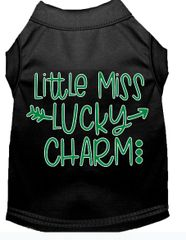 Dog Shirts: St. Patrick's Day Screen Print Dog Shirt in Various Colors & Sizes by MiragePetProducts - LITTLE MISS LUCKY CHARM