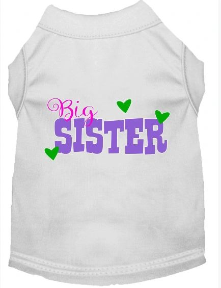 Dog Shirts: Cute Dog Gift for your Dog BIG SISTER Screen Print Dog Shirt in Various Colors & Sizes