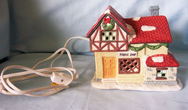 DICKENS CHRISTMAS VILLAGE - Collectable Porcelain Lighted FABRIC SHOP