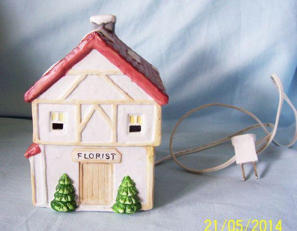CHRISTMAS VILLAGE - Lighted Porcelain Winter Valley Cottage - Florist