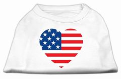 Cute Dog Shirts: AMERICAN HEART FLAG Screen Print Dog Shirt in Various Colors & Sizes by Mirage