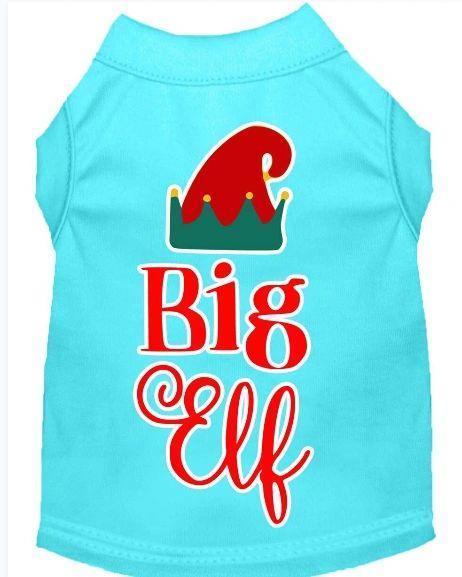 Funny Dog Shirts: Christmas Screen Print BIG ELF Dog Shirt in Various Colors & Sizes