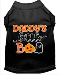 Funny Dog Shirts: Halloween Screen Print Dog Shirt DADDY'S LITTLE BOO in Various Colors & Sizes