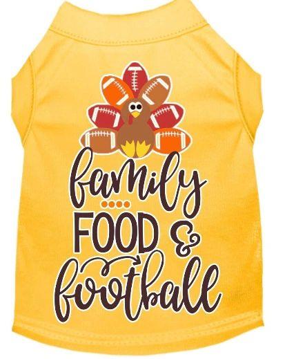 Cute Dog Shirts: Thanksgiving Screen Print FAMILY, FOOD, FOOTBALL Dog Shirt in Various Colors & Sizes