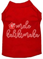Cute Dog Shirts: Christmas Screen Print Dog Shirt MELE KALIKIMAKA in Various Colors & Sizes