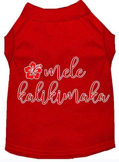 Cute Dog Shirts: Christmas Screen Print Dog Shirt MELE KALIKIMAKA in Various Colors & Sizes