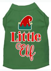 Funny Dog Shirts: Christmas Screen Print LITTLE ELF Dog Shirt in Various Colors & Sizes
