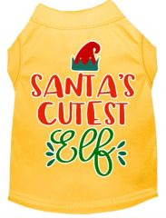Funny Dog Shirts: Christmas Screen Print SANTA'S CUTEST ELF Dog Shirt in Various Colors & Sizes