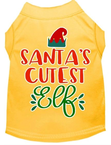 Funny Dog Shirts: Christmas Screen Print SANTA'S CUTEST ELF Dog Shirt in Various Colors & Sizes
