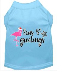 Cute Dog Shirts: Christmas Screen Print SEAS AND GREETINGS Dog Shirt in Various Colors & Sizes