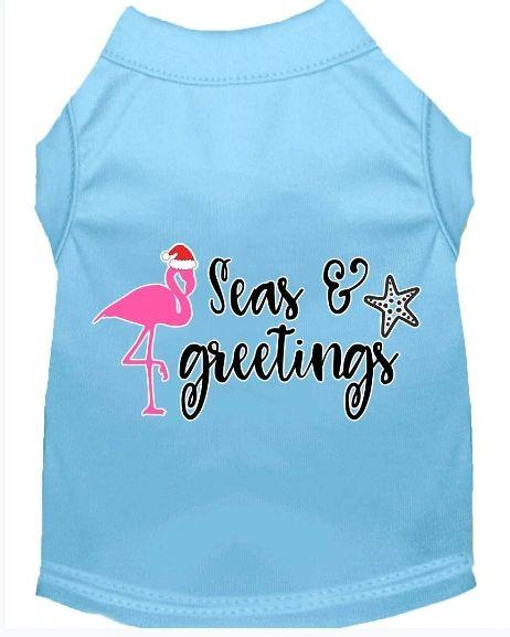 Cute Dog Shirts: Christmas Screen Print SEAS AND GREETINGS Dog Shirt in Various Colors & Sizes
