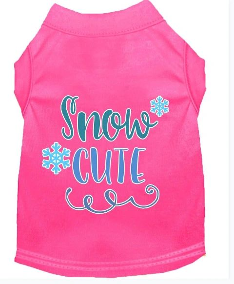 Cute Dog Shirts: Christmas Screen Print SNOW CUTE Dog Shirt in Various Colors & Sizes