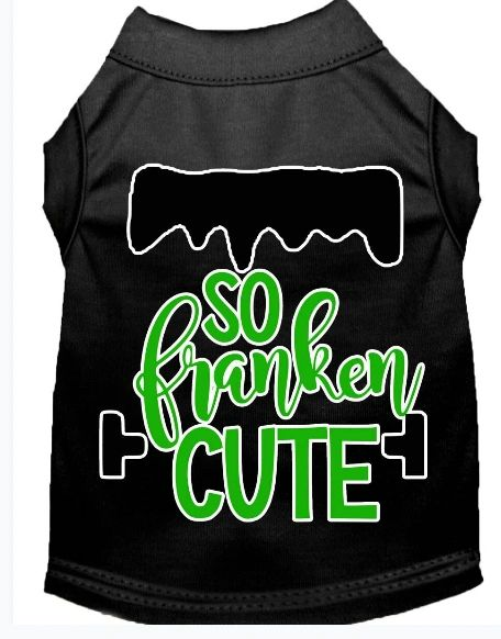 Funny Dog Shirts: Halloween Screen Print SO FRANKEN CUTE Dog Shirt in Various Colors & Sizes