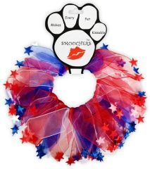 Smoochers Dog Collars: Smoocher Dog Collar/Dog Scrunchies/Party Collar - PATRIOTIC RED, WHITE & BLUE STARS