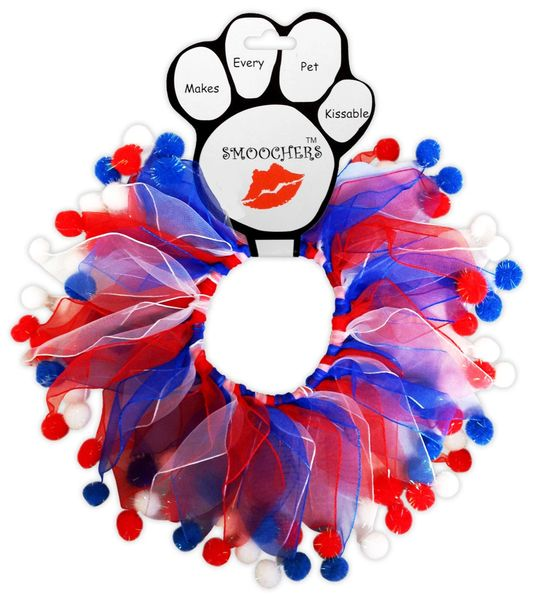Smoochers Dog Collars: Smoocher Dog Collar/Dog Scrunchies/Party Collar - PATRIOTIC RED, WHITE & BLUE Fuzzy