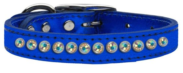 : Genuine METALLIC Leather Fancy Dog Collar by Mirage - ONE ROW AB CRYSTALS
