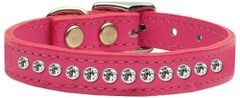 Leather Dog Collars: One Row Clear Crystal Jeweled Dog Collar in various colors USA by Mirage