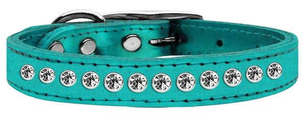 Leather Dog Collars: Genuine METALLIC Leather Bling Dog Collar by Mirage - ONE ROW CLEAR CRYSTALS