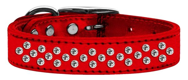 Leather Dog Collars: METALLIC Leather Jewel Dog Collar by Mirage - SPRINKLES CLEAR CRYSTALS