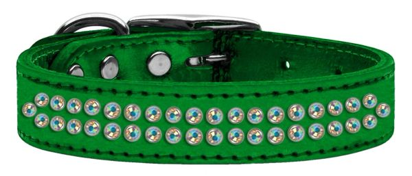 Leather Dog Collars: Genuine METALLIC Leather by Mirage - TWO ROWS AB CRYSTALS