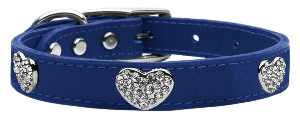 Genuine Leather Dog Collars: Leather Dog Collar - CRYSTAL HEARTS in 9 different sizes & 11 different colors