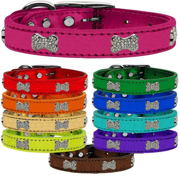 Genuine Leather Dog Collars: Metallic Leather Dog Collar - CRYSTAL BONES in 9 different sizes & 10 different colors