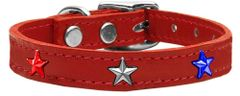 Dog Collars: Cool Genuine Leather Dog Collars with Cute Red, White & Blue STARS Widgets in Different Colors and Sizes by Mirage USA