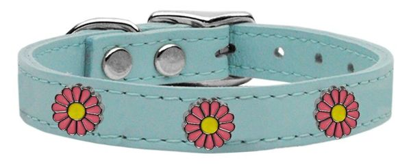 Dog Collars: Cool Dog Collars with Cute PINK DAISY Widgets Genuine Leather Dog Collar in Different Colors & Sizes