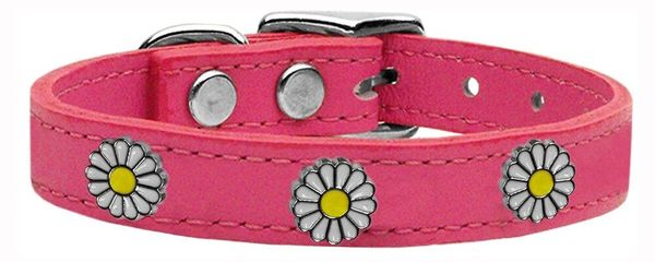 Dog Collars: Cool Dog Collars with Cute WHITE DAISY Widgets Genuine Leather Dog Collar in Different Colors & Sizes