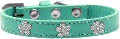 Widget Dog Collars: Cute SILVER FLOWER WIDGET Dog Collar in Various Sizes and Colors