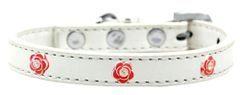Widget Durable Dog Collars: Cute RED ROSE WIDGET Dog Collar in Various Sizes and Colors