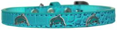 Dog Collars: Cute DOLPHIN Widgets on Faux Croc Dog Collar in Different Colors and Sizes